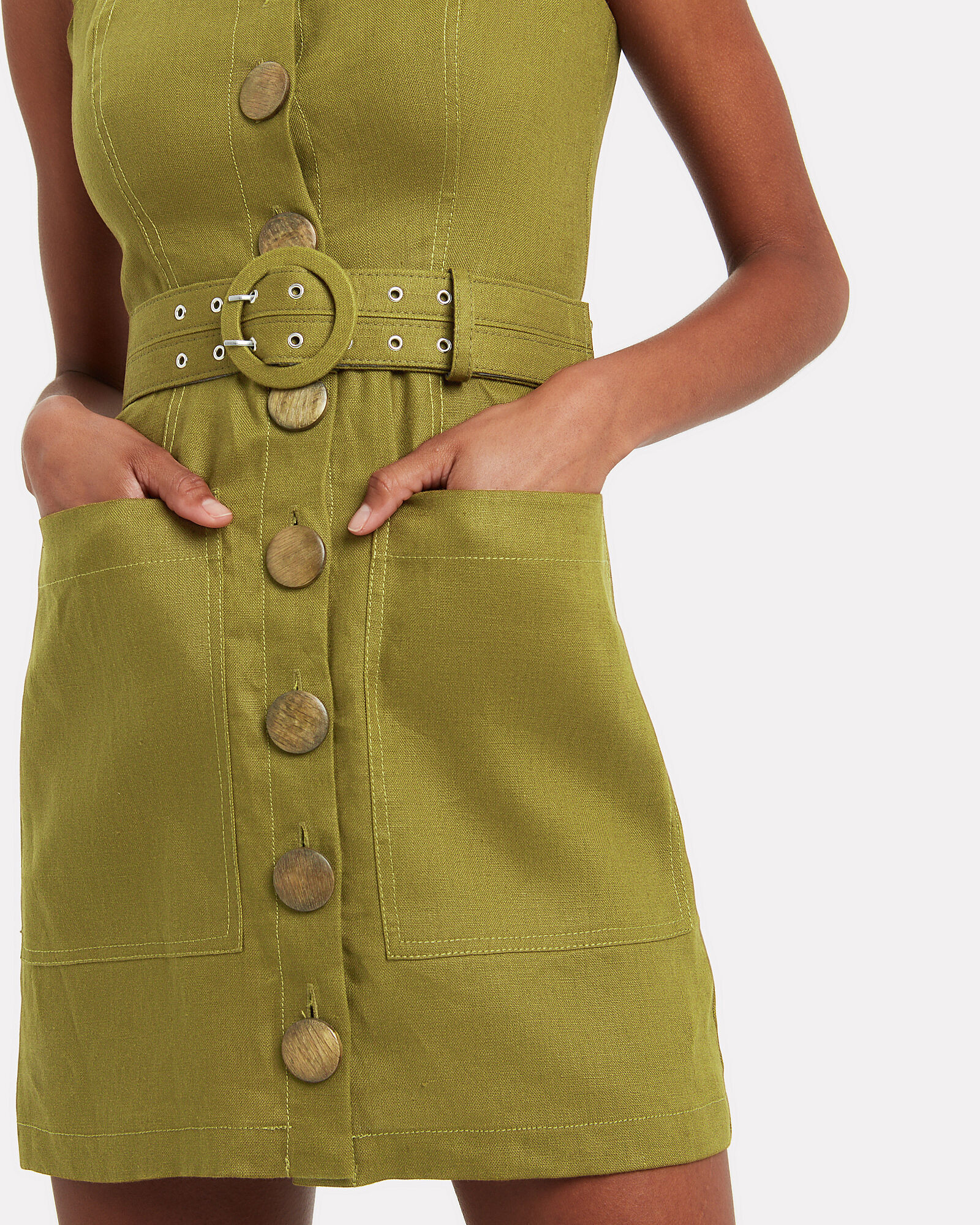 Twill Button Front Sleeveless Dress, OLIVE, hi-res