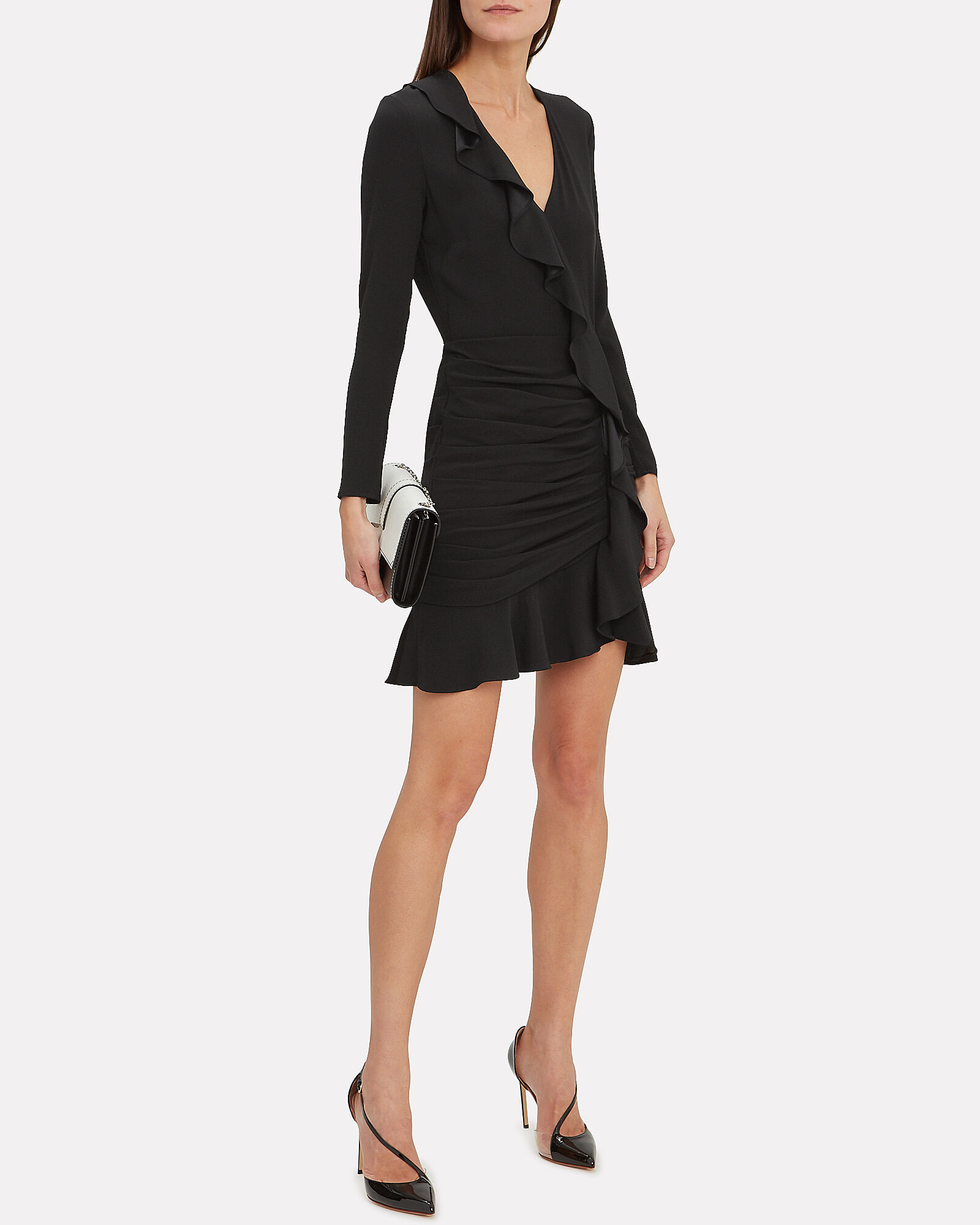 Odessa Ruffle Mini Dress, BLACK, hi-res