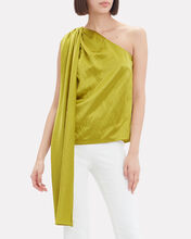 One Shoulder Hammered Silk Top, YELLOW, hi-res