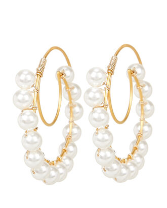Lune Swarovski Pearl Hoop Earrings, GOLD, hi-res