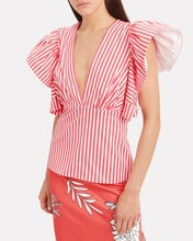 Top Ten Striped Cotton Blouse, RED, hi-res