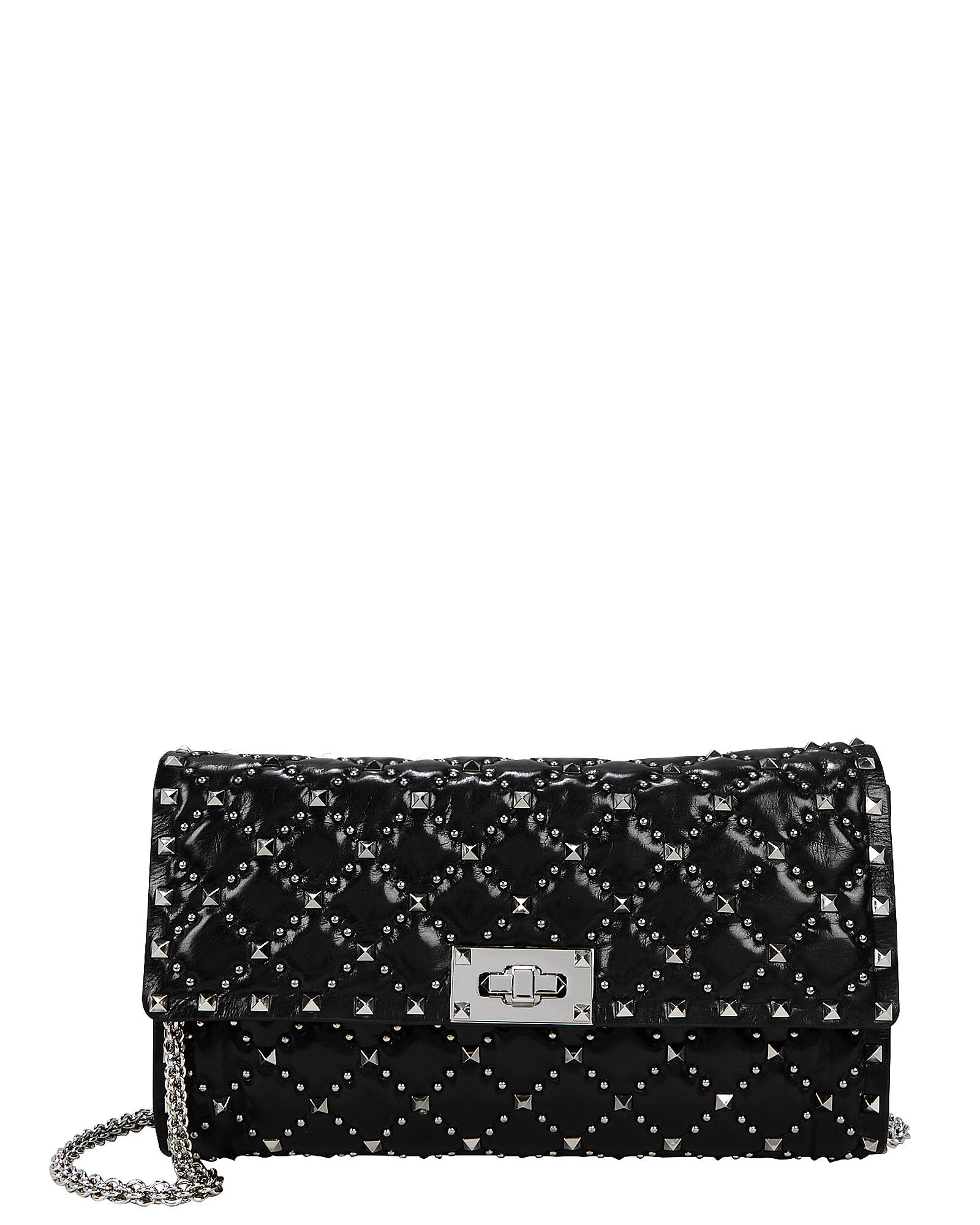 Rockstud Quilted Leather Clutch, BLACK, hi-res