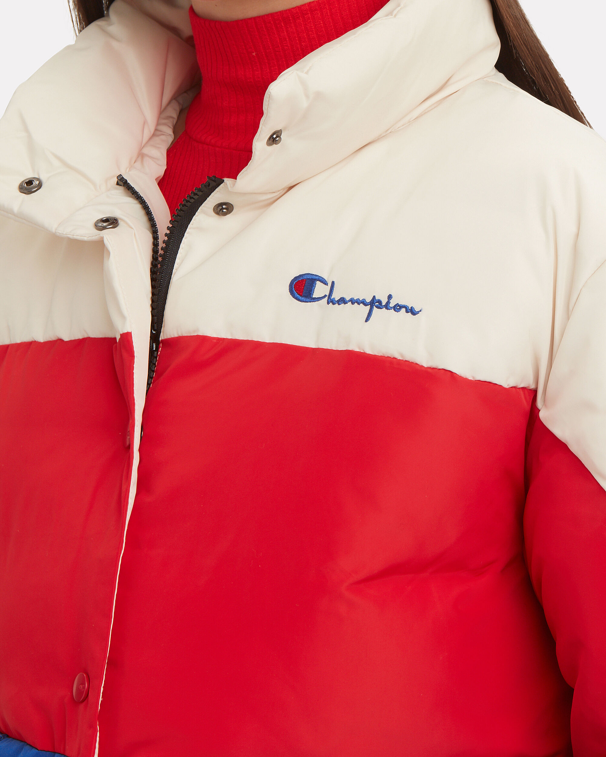 Short Down Colorblocked Jacket, WHITE/RED/BLUE, hi-res