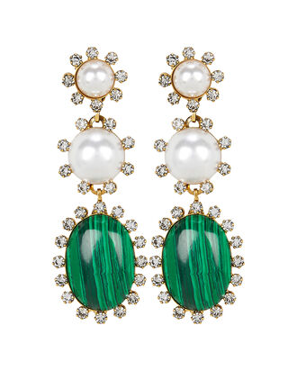 Priscilla Malachite and Pearl Earrings, GREEN, hi-res