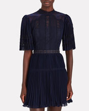 Lace-Trimmed Pleated Chiffon Dress, NAVY, hi-res