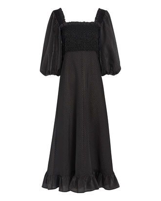 Smocked Seersucker Midi Dress, BLACK, hi-res