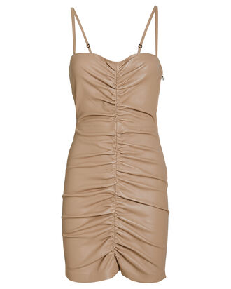 Shirred Bustier Leather Mini Dress, BEIGE, hi-res