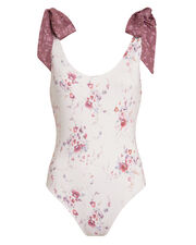 Posy Tie Shoulder Floral One Piece Swimsuit, WHITE/PINK FLORAL, hi-res