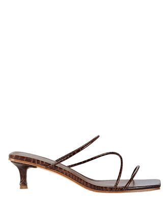 Jackie Embossed Slide Sandals, BROWN, hi-res
