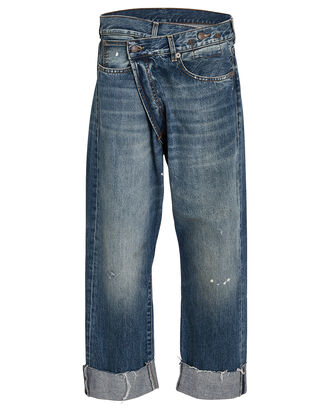 Crossover Distressed Jeans, MEDIUM INDIGO DENIM, hi-res