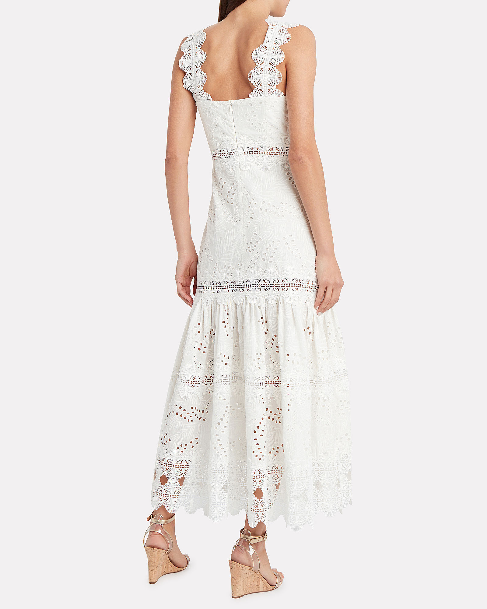Sireneuse Embroidered Cotton Dress, WHITE, hi-res