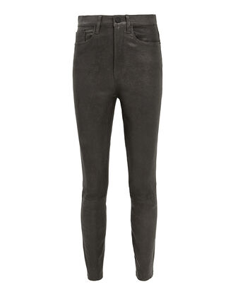 Ali High-Rise Charcoal Leather Pants, CHARCOAL, hi-res
