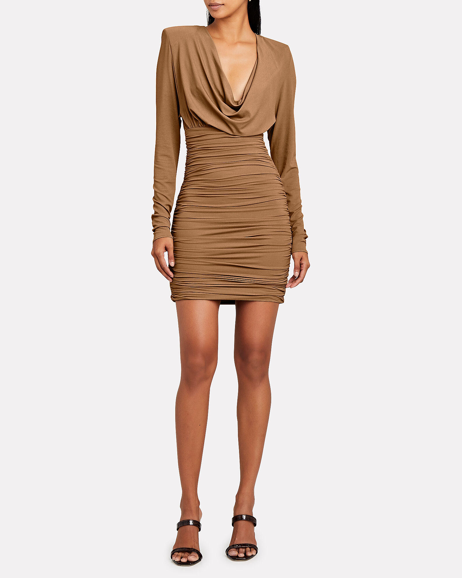 Draped Jersey Cowl Neck Mini Dress, , hi-res