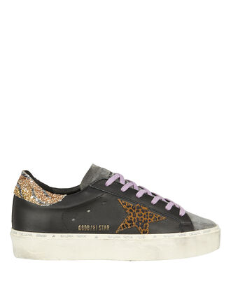 Hi Star Black Leather Sneakers, BLACK/LEOPARD, hi-res