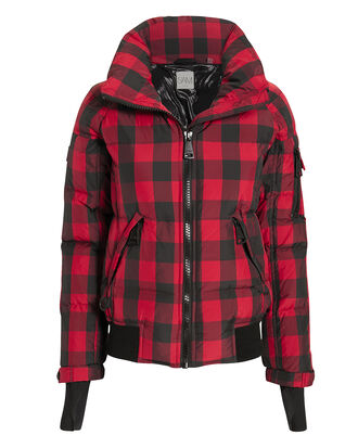 Plaid Bomber Puffer Jacket, RED/BLACK, hi-res