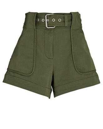 Monterey Belted Cotton-Blend Shorts, OLIVE, hi-res