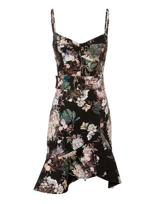 Arielle Belted Dress, BLACK/GREEN/FLORAL, hi-res