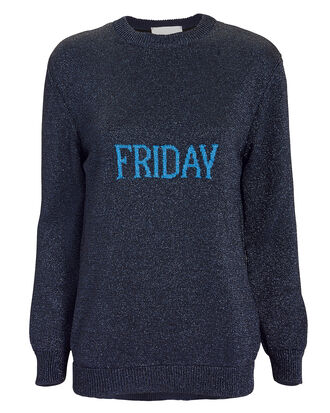 Friday Lurex Oversized Sweater, NAVY, hi-res