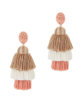 Grapefruit Long Silk Tiered Tassel Earrings, COLORBLOCK, hi-res