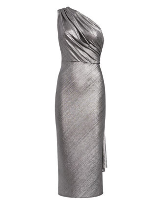 Kong Draped One-Shoulder Dress, SILVER, hi-res