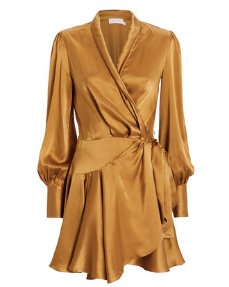 Gold Wrap Mini Dress, GOLD, hi-res
