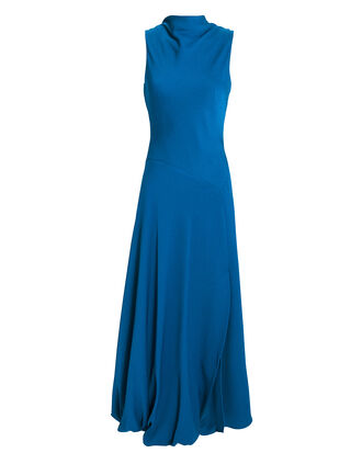 Bubble-Hem Blue Dress, BLUE-MED, hi-res