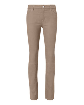 Maude Cigarette Leather Pants, BEIGE/KHAKI, hi-res