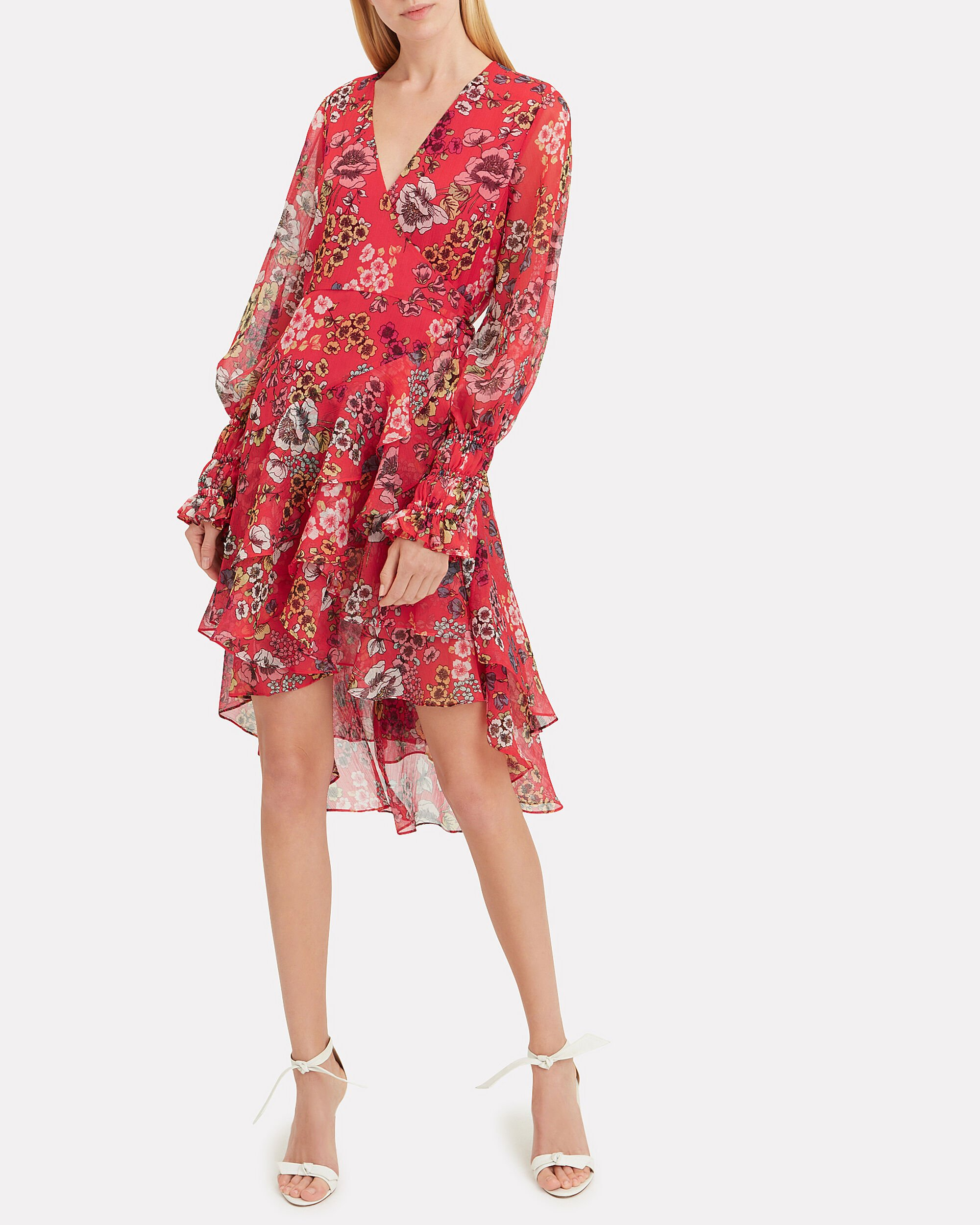 Sidony Red Floral Wrap Dress, RED FLORAL, hi-res