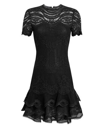 Mixed Lace Cap Sleeve Mini Dress, BLACK, hi-res