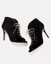 Coco Peep Toe Lace-Up Booties, BLACK, hi-res