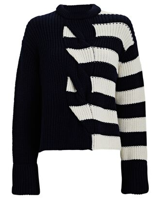 Striped Cable Knit Merino Wool Sweater, BLACK/IVORY, hi-res