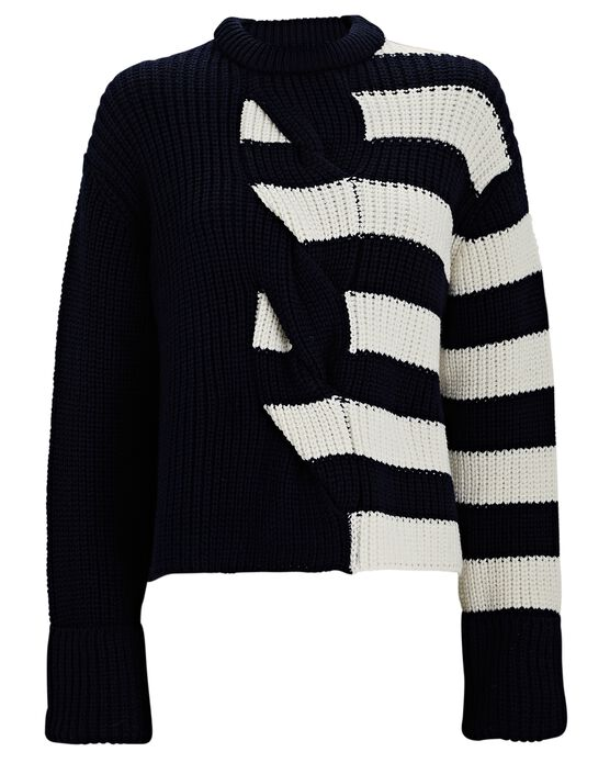 Monse Striped Cable Knit Merino Wool Sweater