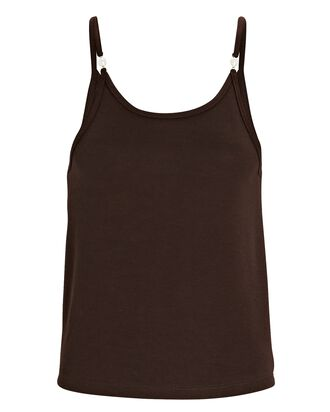 Pearl-Embellished Knit Camisole, BROWN, hi-res