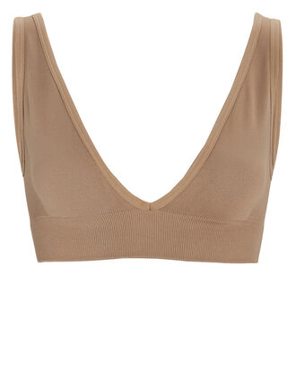 Knit V-Neck Bralette, BEIGE, hi-res