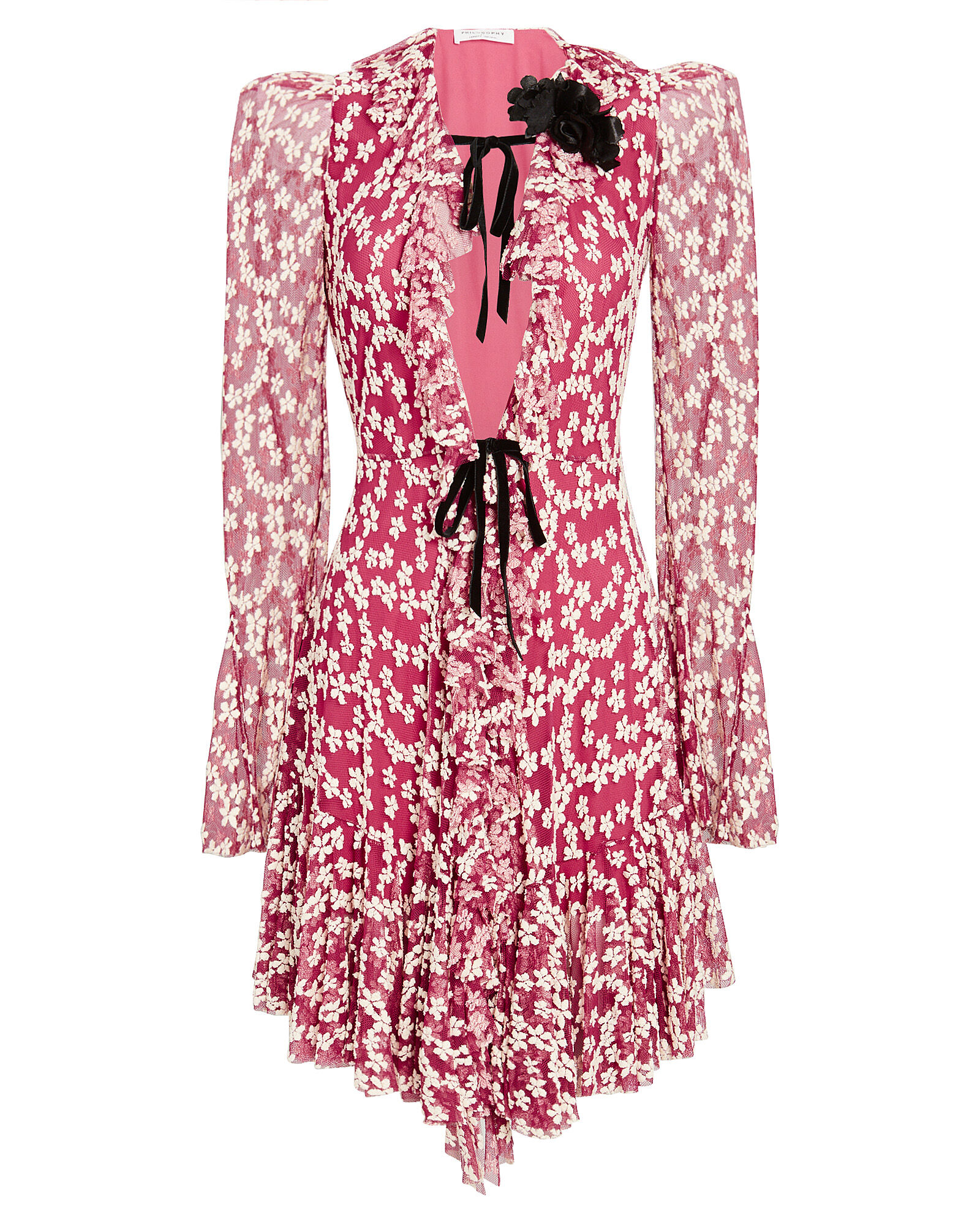 Ruffled Floral Tulle Dress, PINK, hi-res