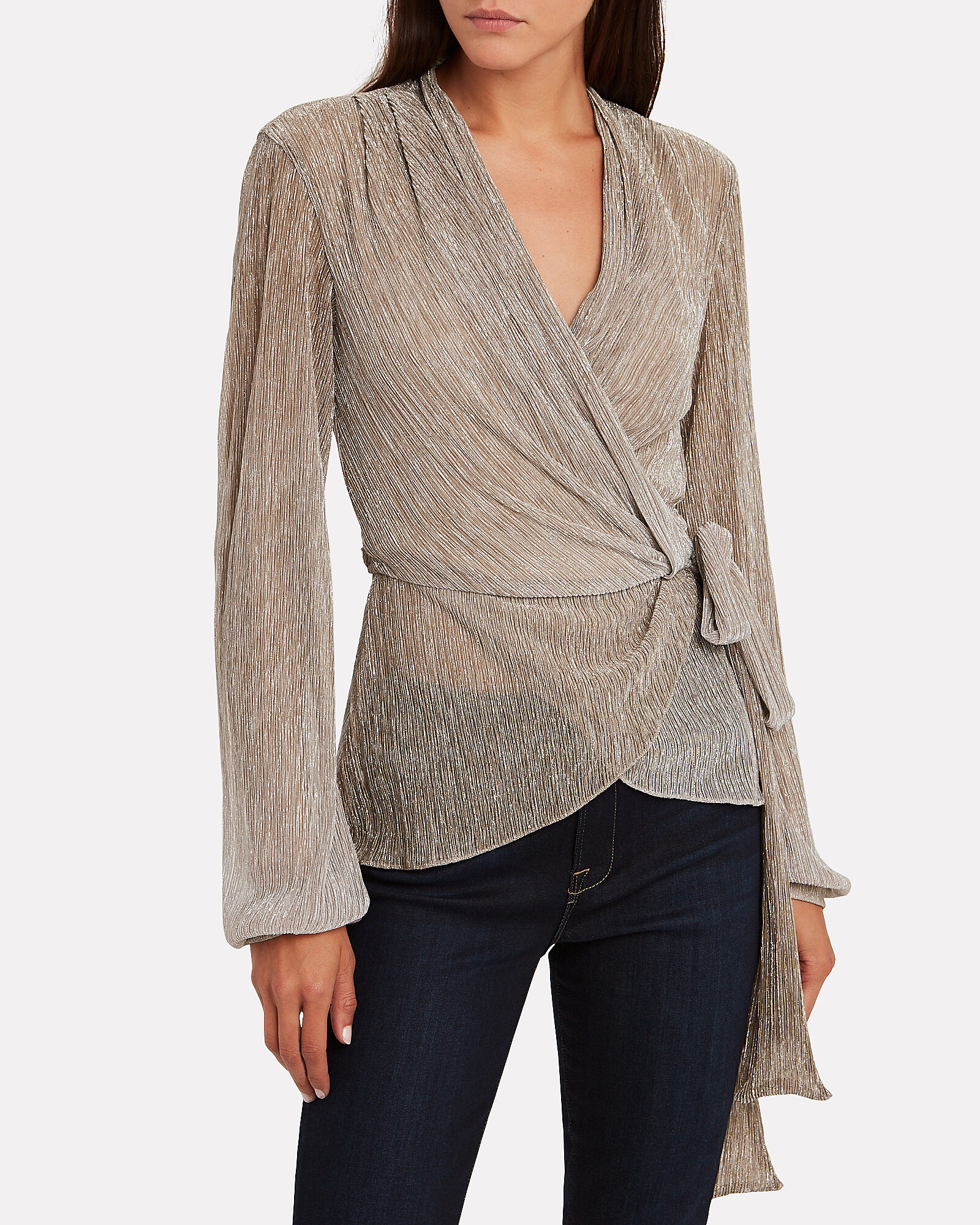 Ombré Lurex Wrap Top, CHAMPAGNE, hi-res