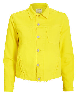 Janelle Cropped Denim Jacket, YELLOW, hi-res