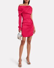 Satin One-Sleeve Mini Dress, RASPBERRY, hi-res