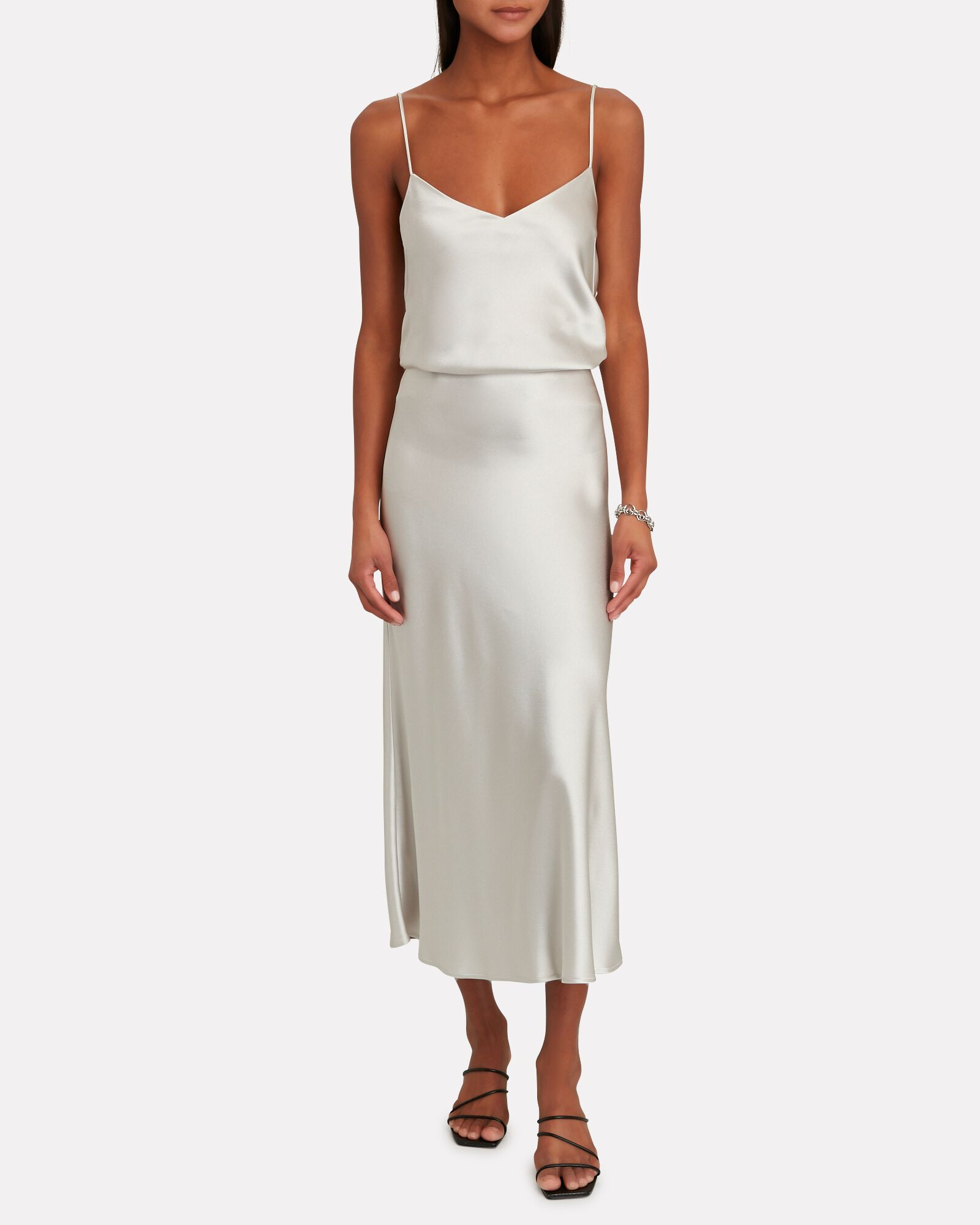 Crepe-Backed Satin Camisole, SILVER, hi-res