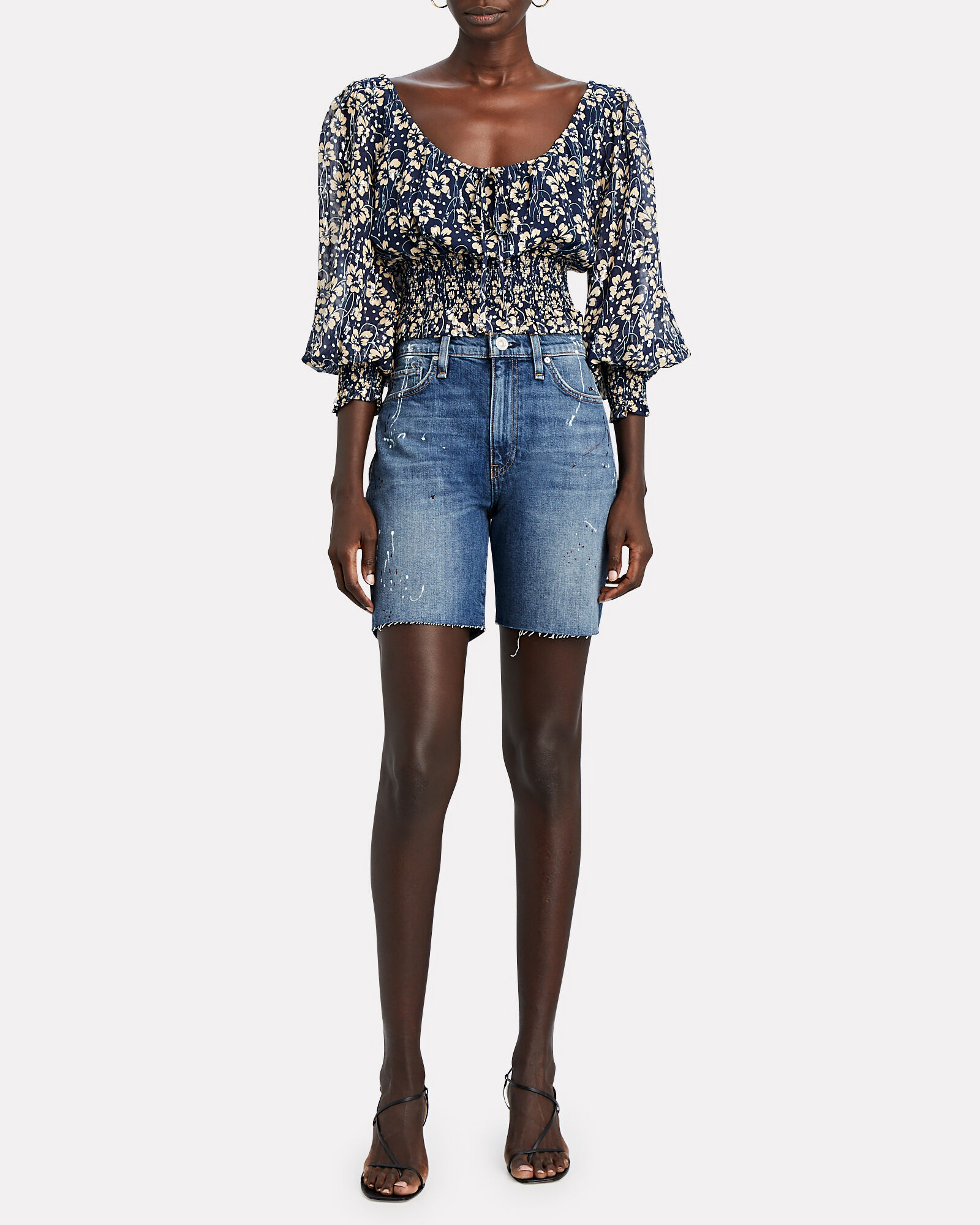 Hana Denim Biker Shorts, MULTI, hi-res
