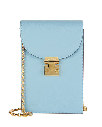Francis Leather Crossbody Pouch, POWDER BLUE, hi-res
