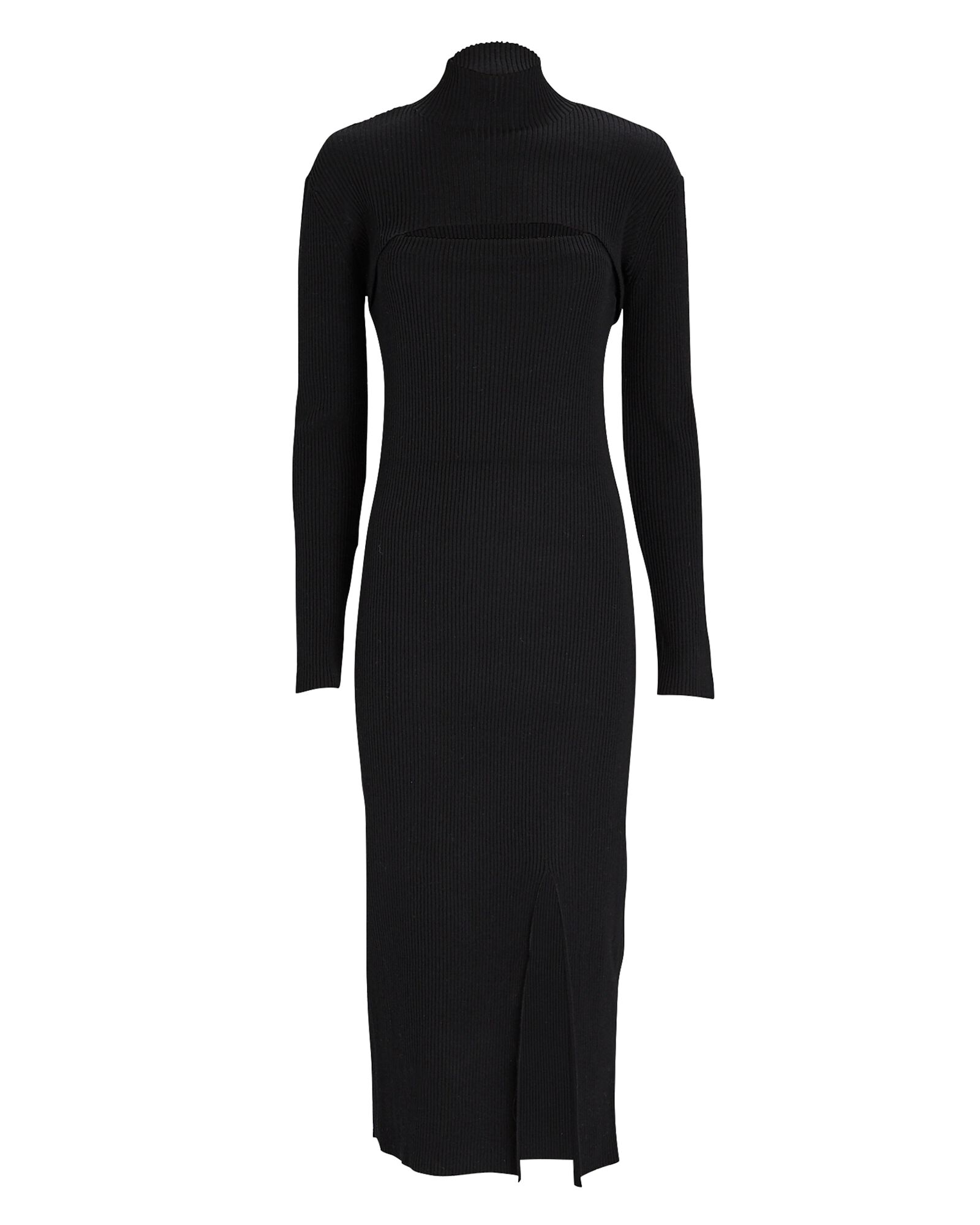 Layered Wool-Blend Knit Midi Dress, BLACK, hi-res