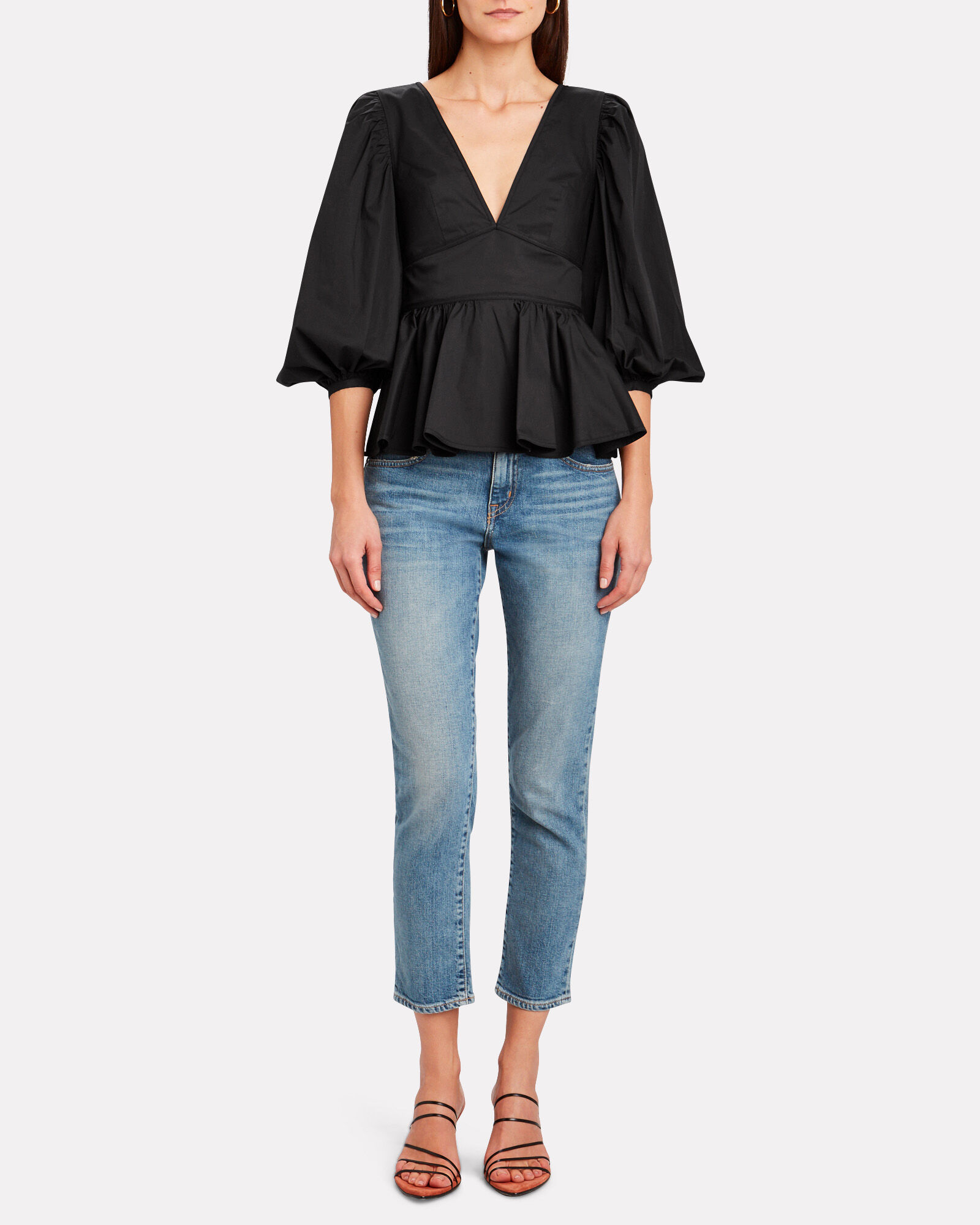Luna Poplin Puff Sleeve Top, BLACK, hi-res
