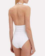 Valentina Lace-Up One Piece, WHITE/BLUE, hi-res