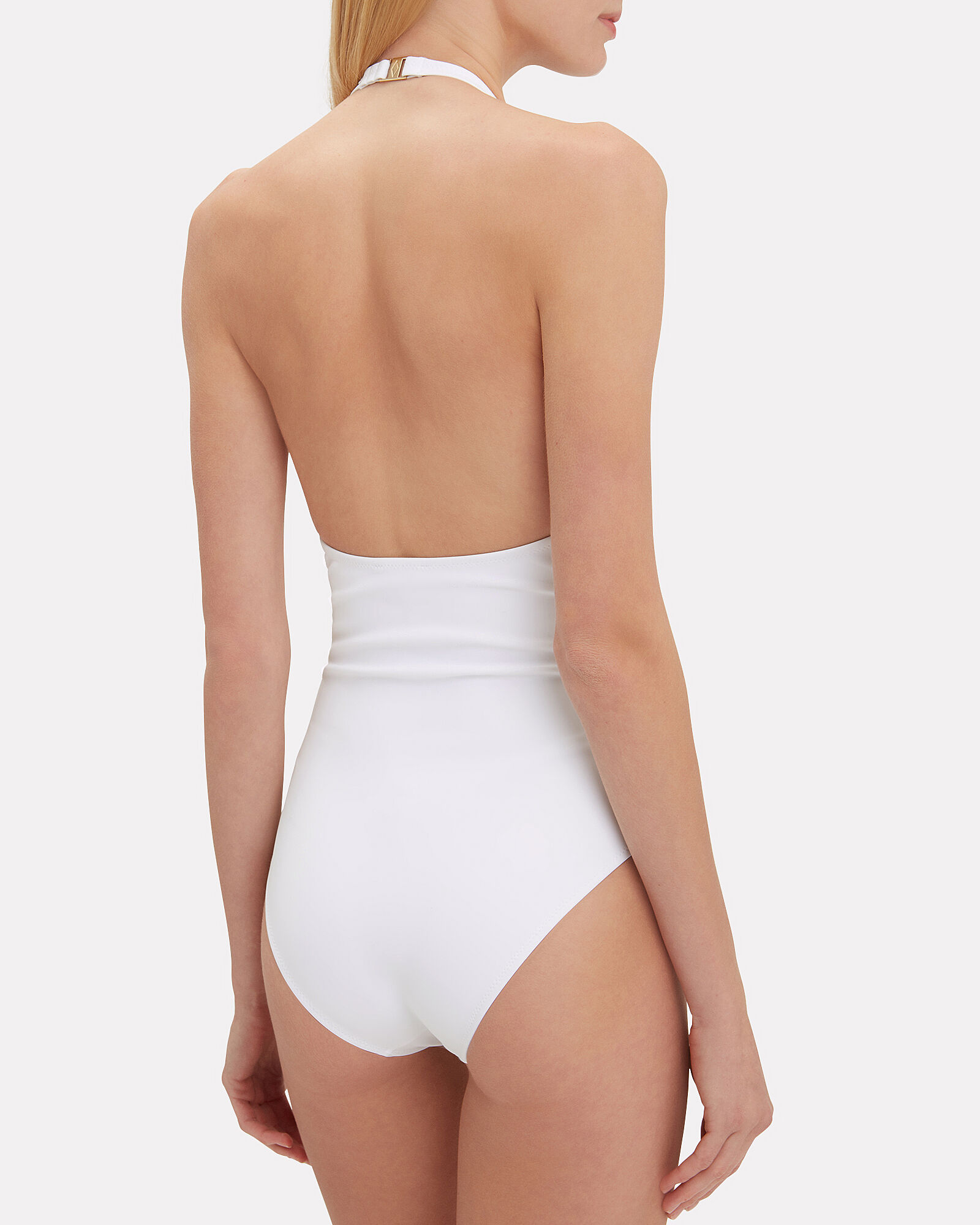Valentina Lace-Up One Piece, WHITE, hi-res