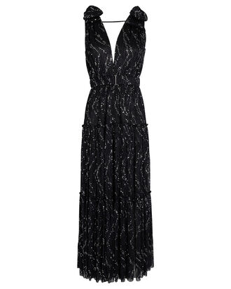 Rita Plissé Lurex Maxi Dress, BLACK, hi-res