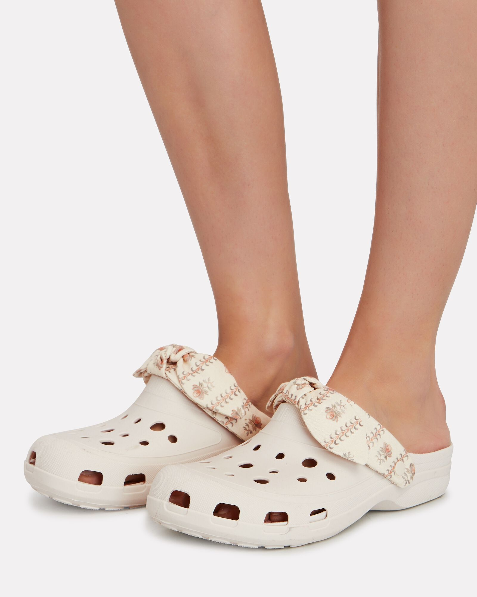 Ezra Bow Trimmed Rubber Clogs, WHITE, hi-res