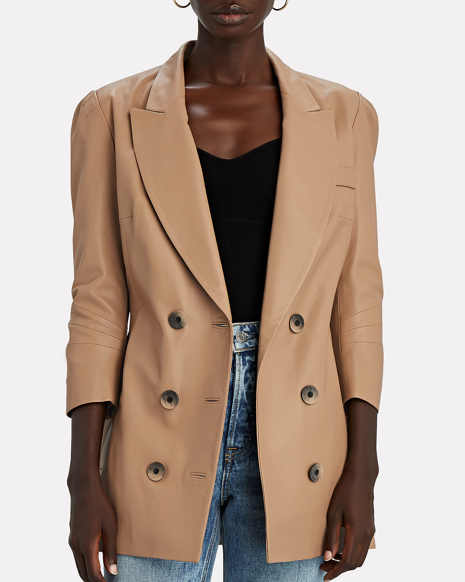 Leather Double-Breasted Blazer, BEIGE, hi-res