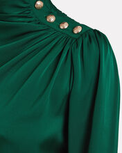 Monica Draped Silk Blouse, GREEN, hi-res