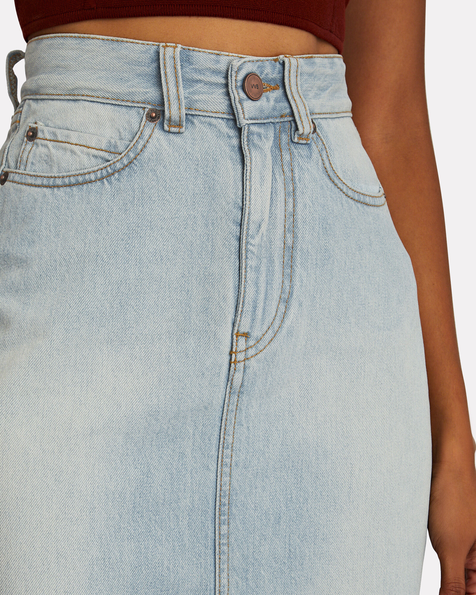 Split Denim Midi Skirt, BLUE-LT, hi-res